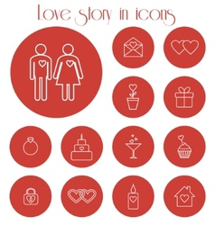 Love story in icons vector image
