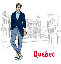 Man in quebec vector