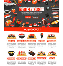 menu for japanese sushi food vector image