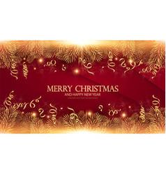 merry christmas elegant design template gold fir vector image