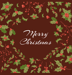 merry christmas greeting card with berries vector image
