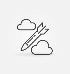 missile in sky concept thin line icon vector image