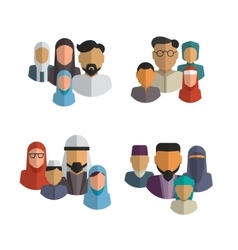 Muslim family icons set Middle eastern vector