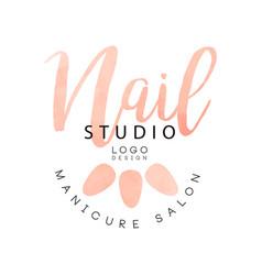 nail studio manicure saloon logo design creative vector image
