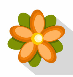 Orange abstract flower icon flat style vector