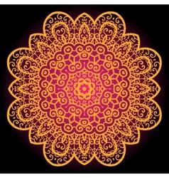 Orange vintage art india mandala chakra karma vector
