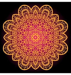 Orange vintage art of india Mandala chakra karma vector