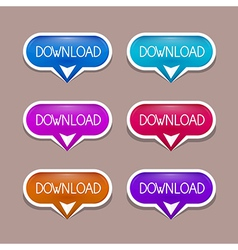 Paper Download Buttons Set vector image