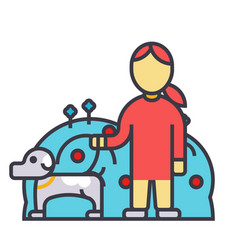 Pets care dog with woman animal help flat line vector