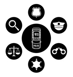 police concept with car and accessories icons vector image