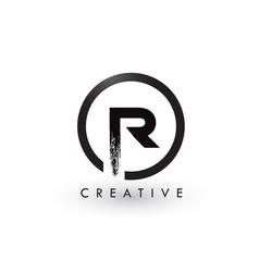 R brush letter logo design creative brushed vector