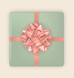 realistic image colorful festive box with bow vector image