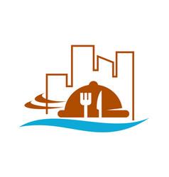 Restaurant city and beach vector