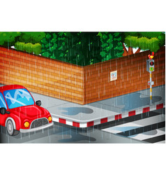 Scene with street in the rain vector