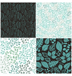 Set four seamless pattern with leaf abstract vector