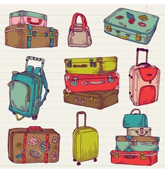 Set of Vintage Colorful Suitcases vector image