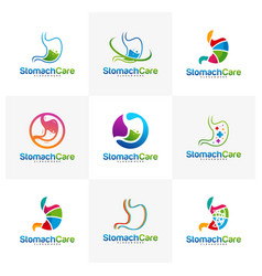 Set stomach care logo design concept health vector