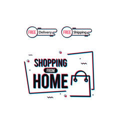 Shopping from home logo label tag template design vector