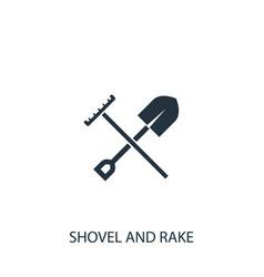 Shovel with rake icon simple gardening element vector