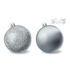 silver shiny glitter christmas balls vector image