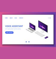 Smart voice assistant application banner on laptop vector