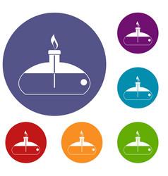 Spiritlamp icons set vector
