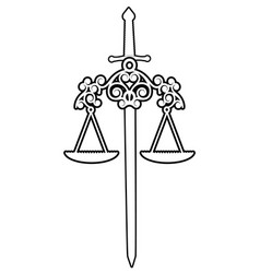 symbols justice scale and sword isolated on vector image