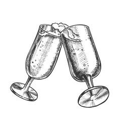 two elegant champagne glasses monochrome vector image