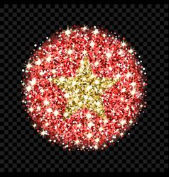 vietnam flag sparkling badge vector image