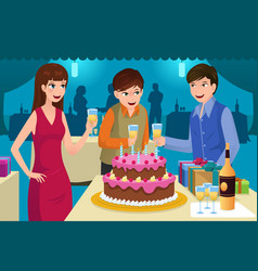 young people celebrating a birthday party vector image