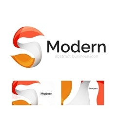 abstract ribbon logo with business card vector image vector image