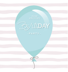 birthday party invitation card template blue vector image