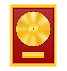 gold vinyl disk in frame stock vector image vector image