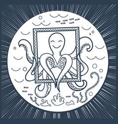 icon an octopus sea vector image vector image
