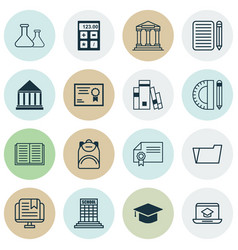 Set of 16 school icons includes opened book vector