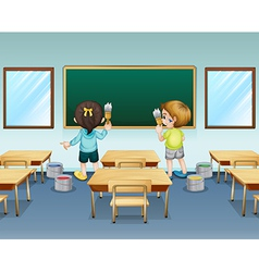 Students painting their classroom vector image vector image