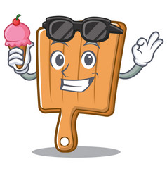 with ice cream kitchen board character cartoon vector image