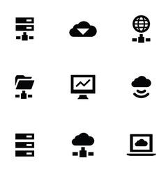 big data 9 icons set vector image