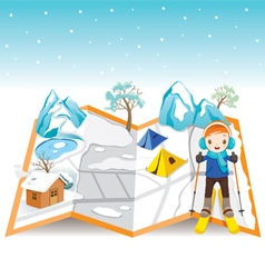 Boy Skiing On Map With Winter Landscape vector image vector image