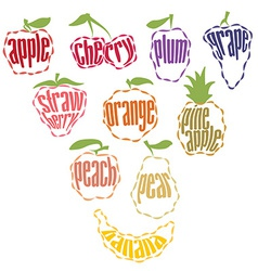 Set of Fruit Labels - 10 items vector image