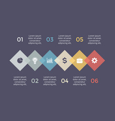 timeline hexagons infographic diagram vector image vector image