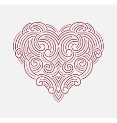 Valentine day Beautiful thin line ornamental heart vector image vector image
