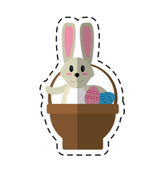 cartoon easter rabbit inside egg basket vector image