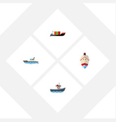 flat icon ship set of delivery transport vector image vector image