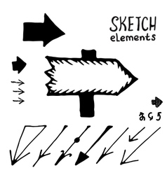 Doodle arrows set sketch elements vector