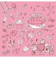 happy birthday set pink vector image vector image