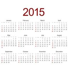 modern 2015 calendar on white vector image