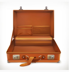 Open suitcase 3d icon vector