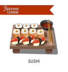 sishi japanese food seafood sashimi rolls vector image