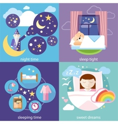 Sleeping and night time sweet dreams vector image